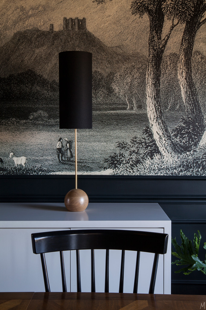 The-Makerista-Dining-Room-Black-Walls-Williamsburg-Chandelier-Rejuvenation-Custom-Buffet-Farrow-and-Ball-Blue-Black-Windsor-Chairs-Baker-Table-Sarouk-Rug-Modern-Buffet-IMG_1705-683x1024