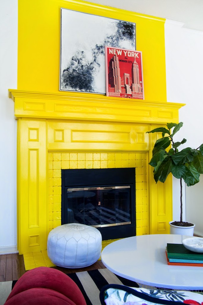 The-Makerista-Playroom-Yellow-Fireplace-Behr-Lemon-Zest-Kids-Room-Colorful-683x1024