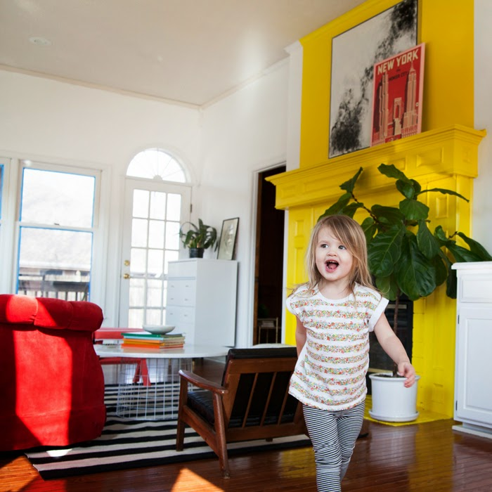 The-Makerista-Playroom-Kids-Room-DIY-Yellow-Fireplace-Red-Couch-Sunroom